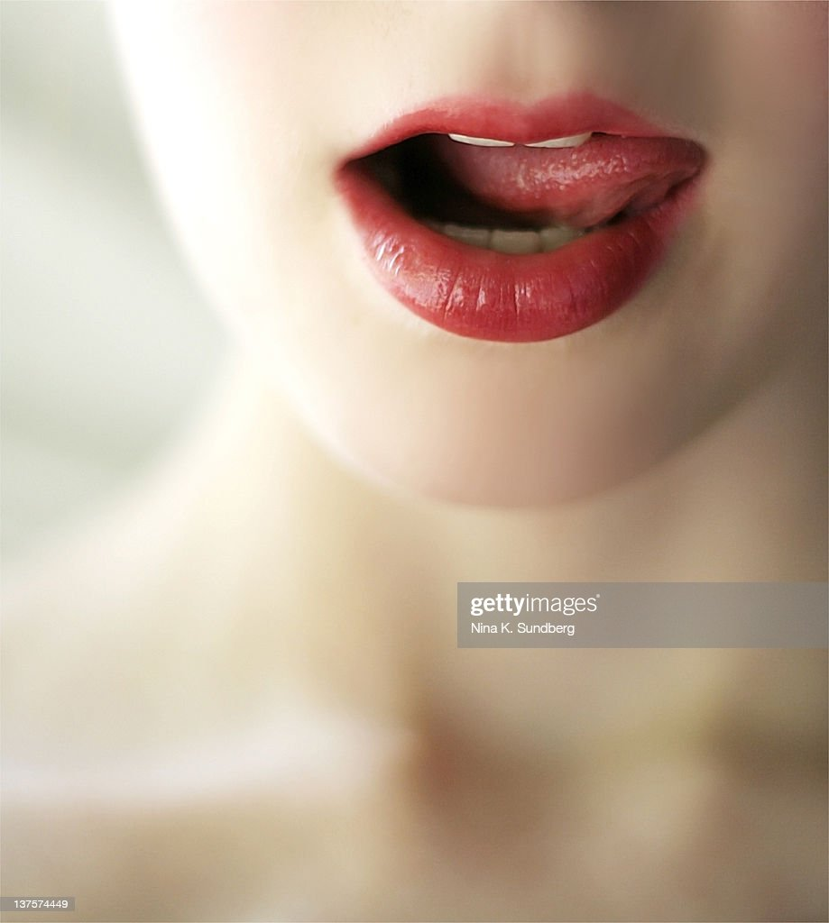 Close up of girl mouth : Stock Photo