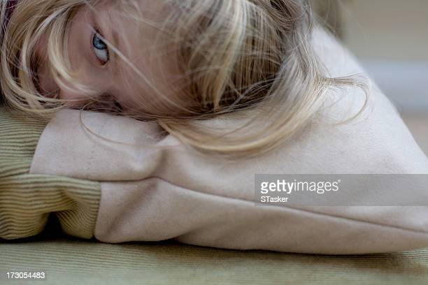 Close up of girl on pillow