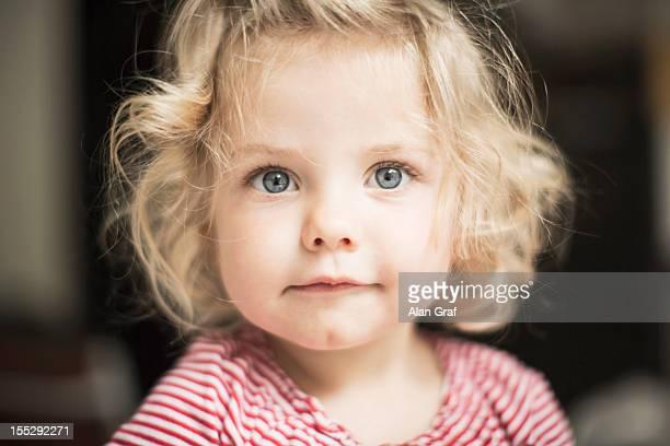 Close up of girls curious face