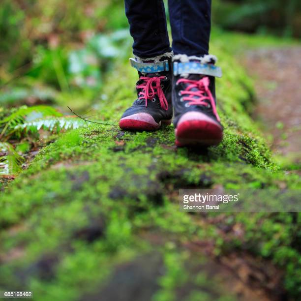 Close Up of Girl's Shoes as she Walks Across Moss-Riddled Log in Forest