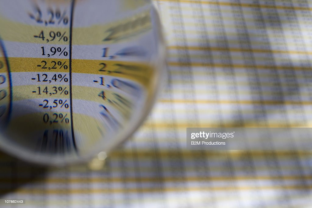 Close up of glass ball on paper : Stock Photo
