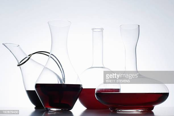 Close up of glass carafes of wine