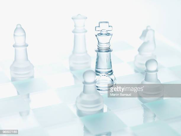 close up of glass chess pieces - chess stock pictures, royalty-free photos & images
