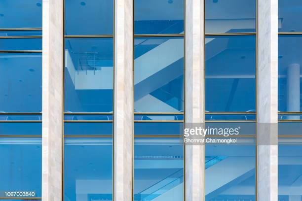 Close up of Glass structure pattern in a high rise building of modern building in business area