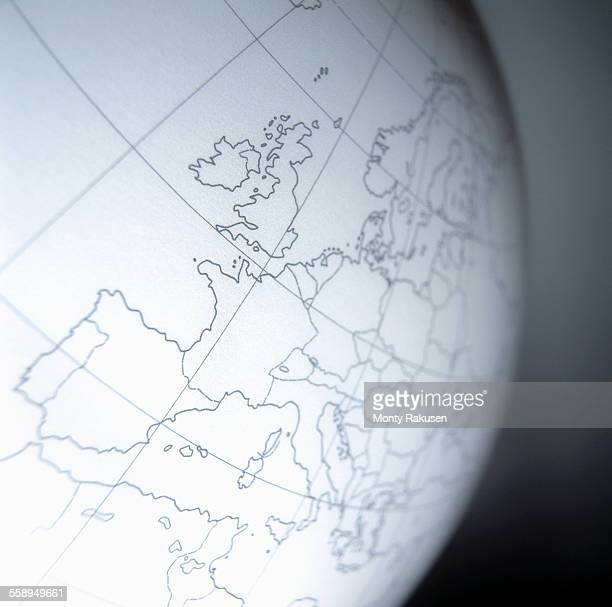Close up of globe with British Isles and part of Europe