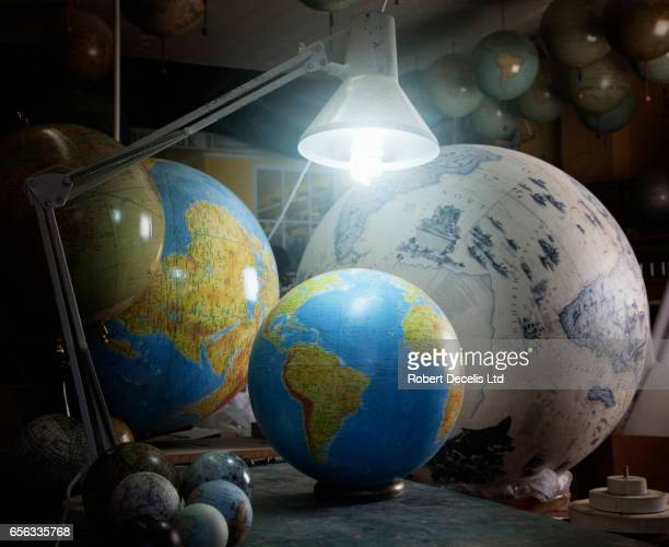Close up of globes in globe makers workshop