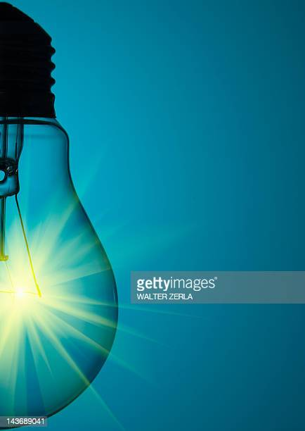 Close up of glowing light bulb