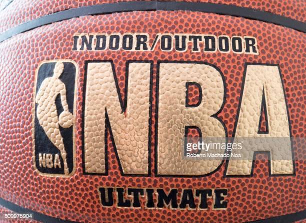 Close up of golden NBA in brand new basketball ball