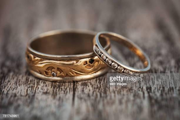Close up of golden wedding bands.