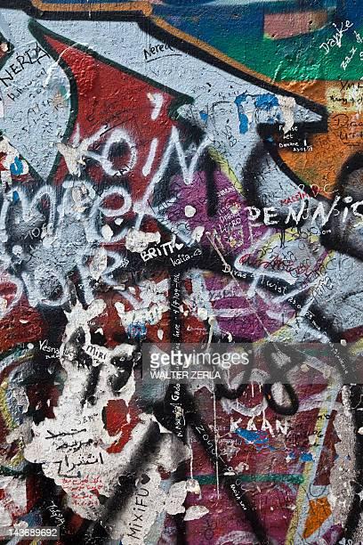 Close up of graffiti on Berlin Wall