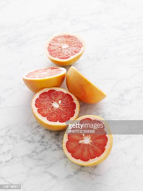 Close up of grapefruit halves