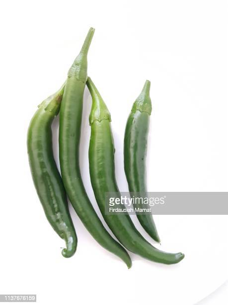 close up of green chillies isolated against white background - green chili pepper stock pictures, royalty-free photos & images