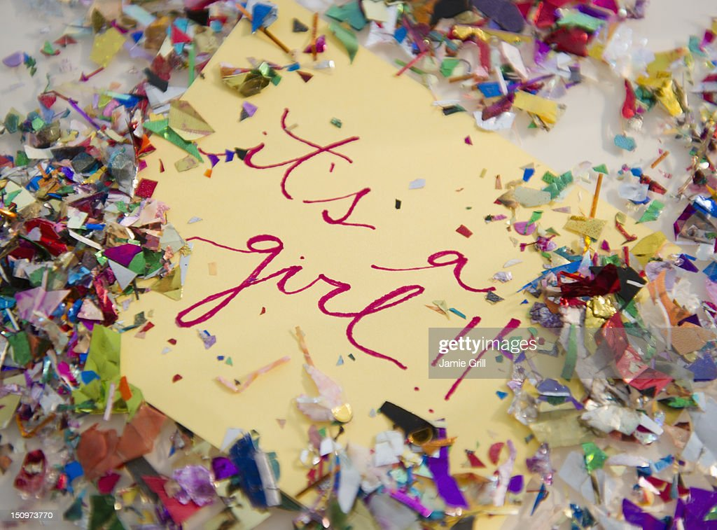 Close up of greeting card with confetti : Stock Photo