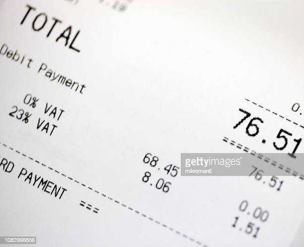 close up of grocery receipt - receipt stock pictures, royalty-free photos & images
