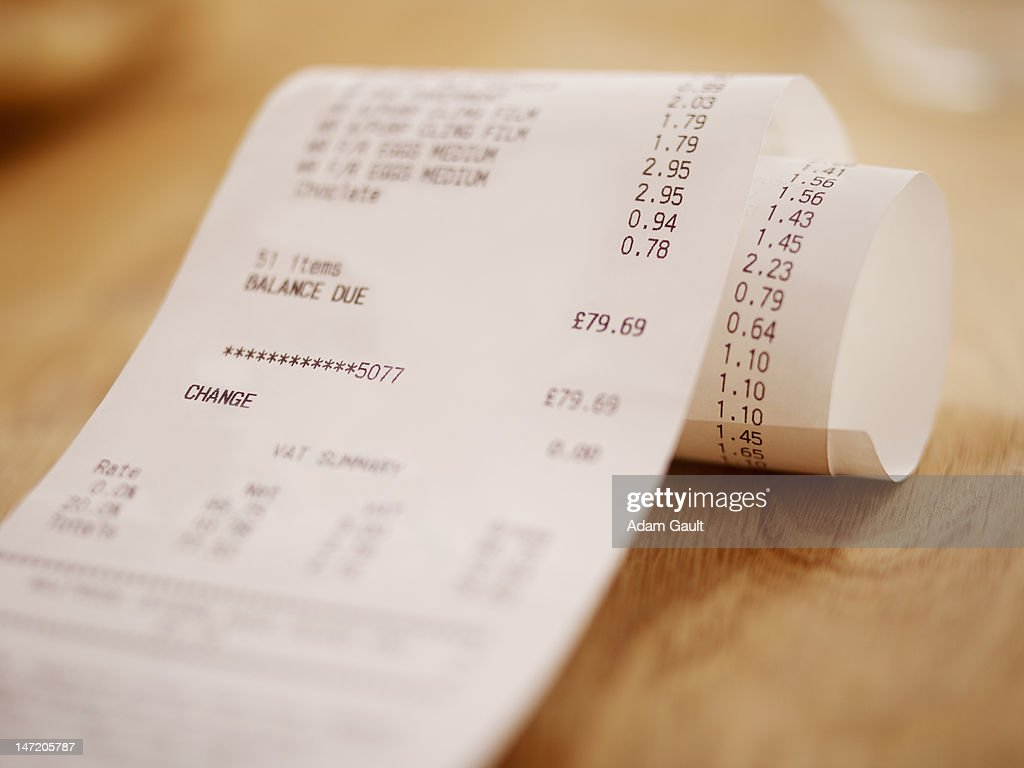 Close up of grocery receipt : Stock Photo