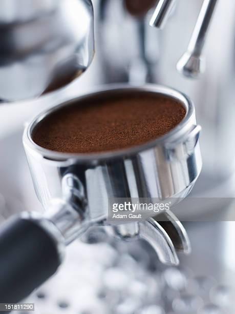 Close up of ground espresso in portafilter