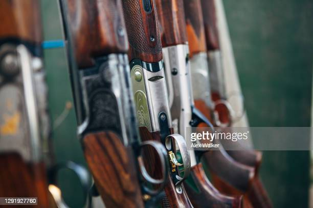 close up of group of shotguns in a rack. - rifle stock pictures, royalty-free photos & images