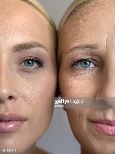 Plano aproximado de metade do rosto de jovem e Mulher Madura.