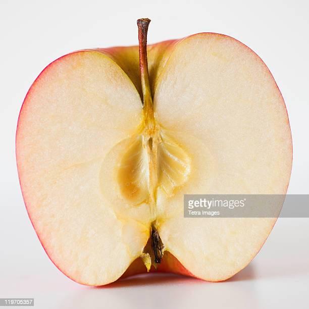 Close up of half of apple, studio shot