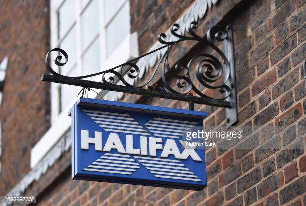 Close up of Halifax Bank logo on November 20, 2020 in Newcastle-Under-Lyme, England.