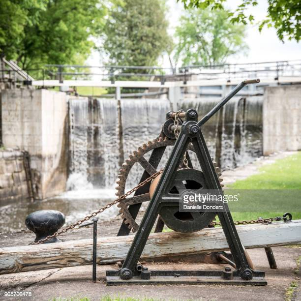"close up of hand crank to open long island locks on rideau canal near manotick. - ""danielle donders"" stock pictures, royalty-free photos & images"