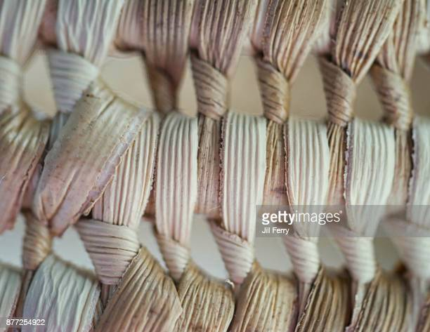 close up of hand woven basket - woven stock photos and pictures