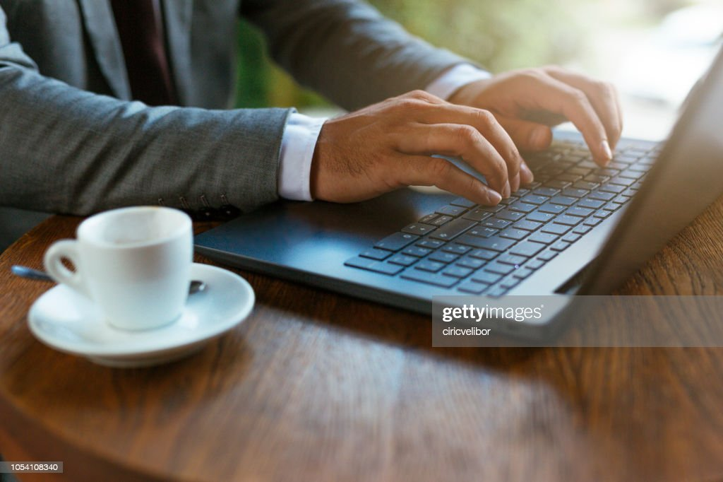 Close up of hands on laptop : Stock Photo