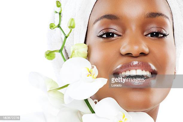 close up of happy black woman
