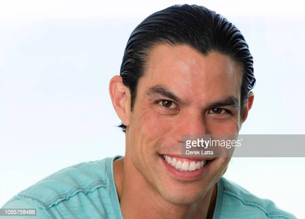Close up of happy handsome adult man in casual t shirt'n