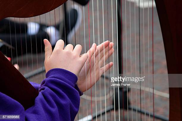 Close up of harpist from Ceoltoiri Lough Allen performing on the street at the Fleadh Cheoil 2015 on August 14 2015 in Sligo Ireland