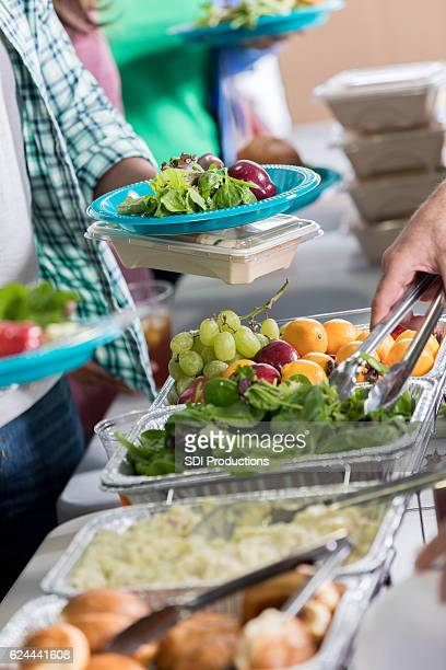 Close up of healthy food in soup kitchen