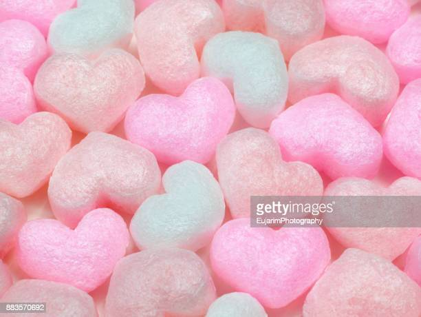 Close up of heart shaped packaging foam cushions