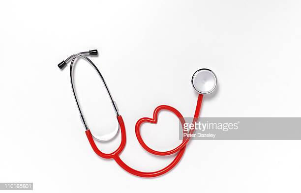 Close up of heart shaped stethoscope
