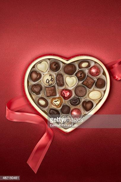 Close up of heart-shaped box of chocolates