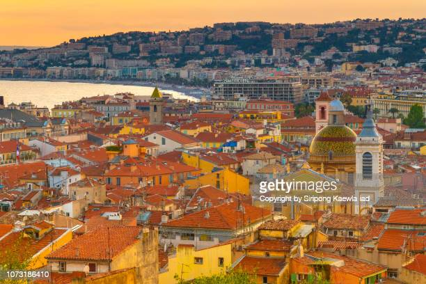 Close up of high angle view of Nice city at sunset, France.