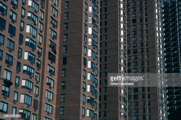 Close up of high rise buildings in New York City 1992