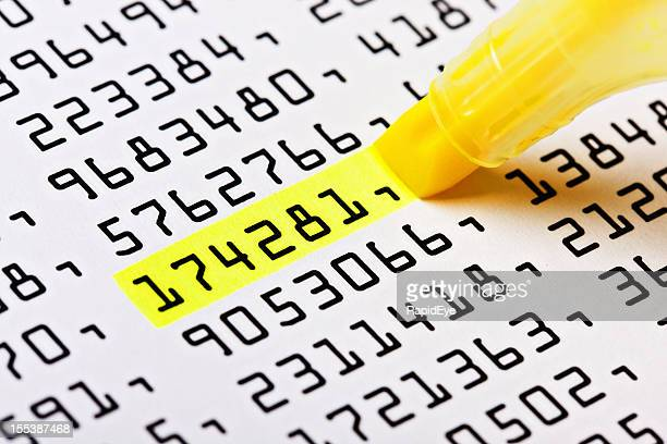 close up of highlighter marking one number on list - highlights stock pictures, royalty-free photos & images