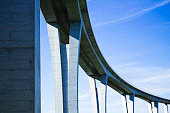Close up of highway viaduct in front of a clear blue sky