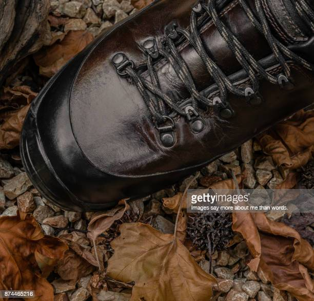 Close up of hiking boot amid pebbles, leaves and wooden sticks.