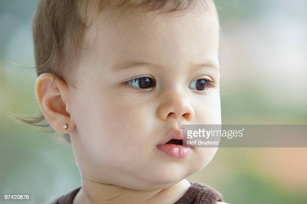 Close up of Hispanic baby girl