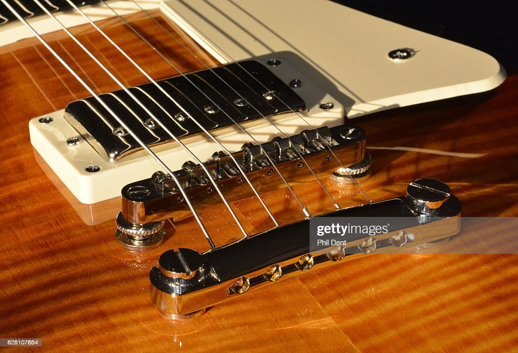close up of humbucker pickup tune o matic bridge and tailpiece on a news photo getty images. Black Bedroom Furniture Sets. Home Design Ideas
