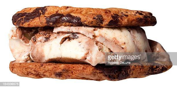 Close up of ice cream sandwich with chocolate chip cookie