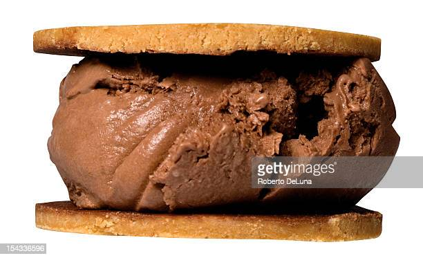 Close up of ice cream sandwich with peanut butter