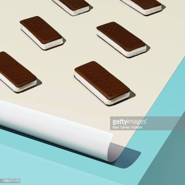 Close Up Of Ice Cream Sandwiches On Sheet Of Paper
