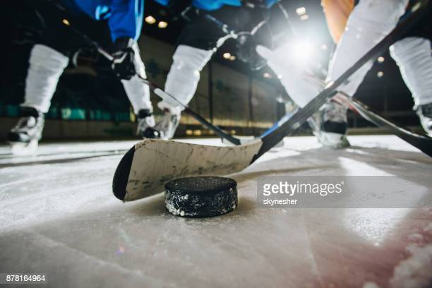 close up of ice hockey puck and stick during a match. - ice hockey rink stock pictures, royalty-free photos & images
