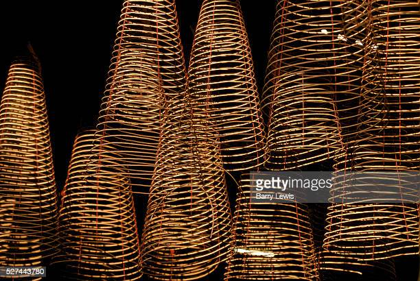 Close up of incense coils which will be burnt as an offering to the sea goddess in a temple in Ho Chi Minh City in Vietnam