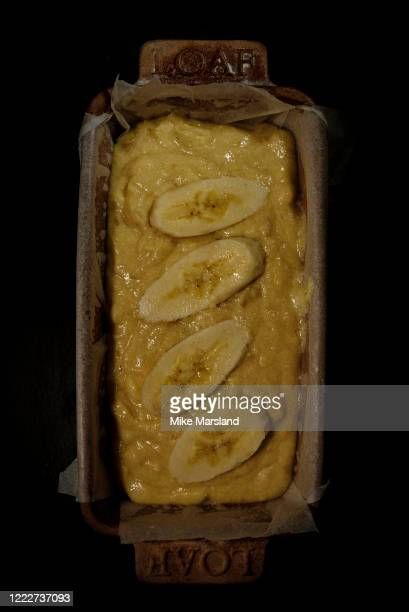 Close up of ingredients for homemade banana bread on 4 May in Potters Bar, Herts During the COVID-19 outbreak and lockdown, there has been a surge in...