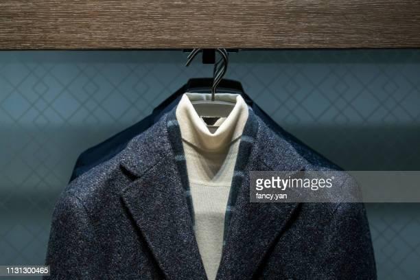 close up of jacket in a window display - herrkläder bildbanksfoton och bilder