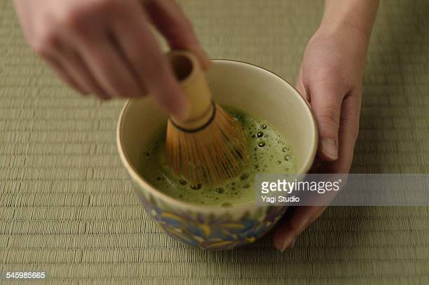 Close up of Japanese tea ceremony