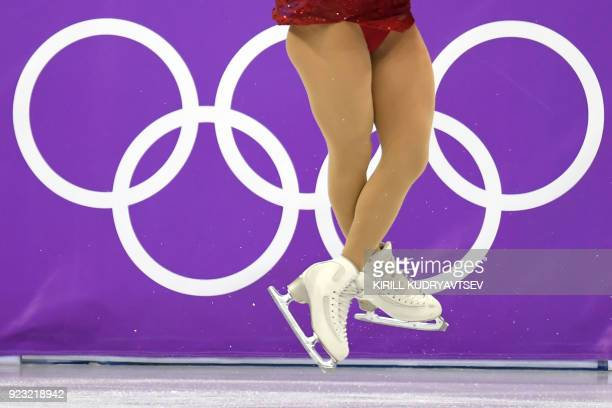 Close up of Japan's Kaori Sakamoto's skates as she compete in the women's single skating free skating of the figure skating event during the...
